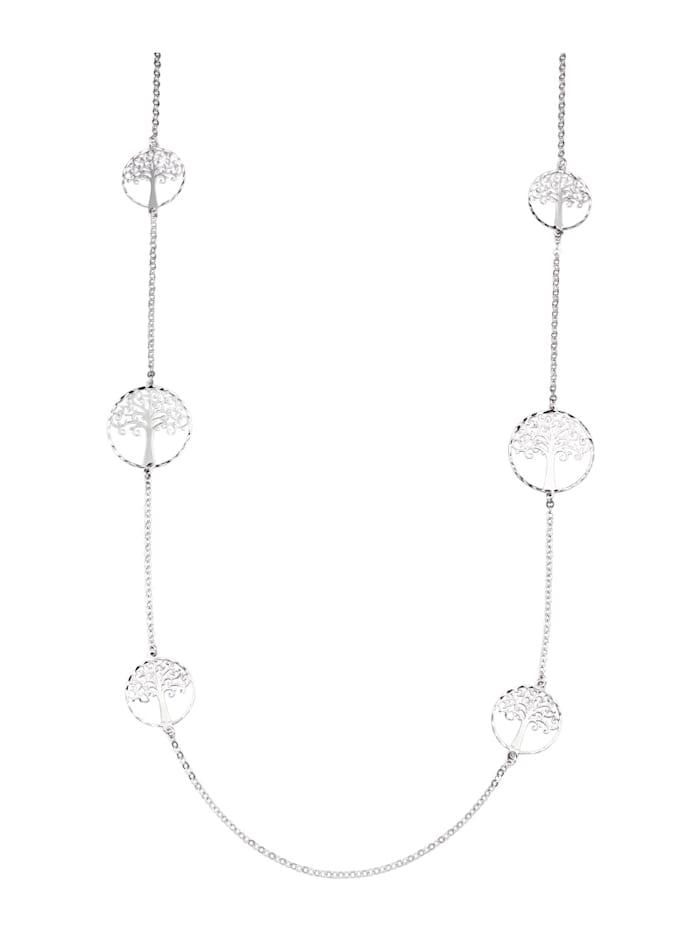 Collier Levensboom van echt zilver, Zilverkleur
