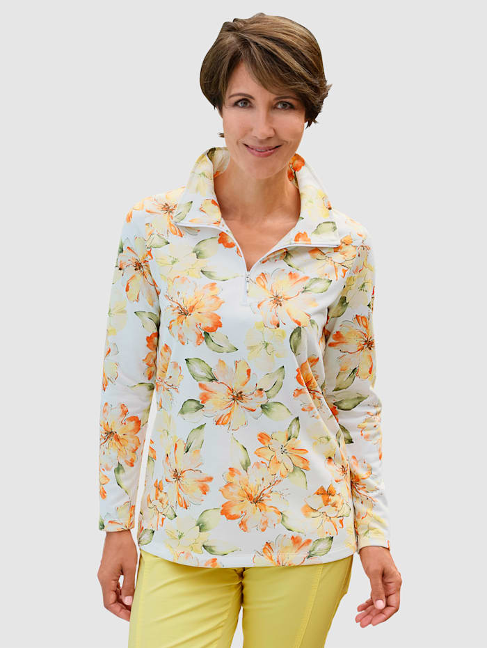 Paola Sweatshirt mit Blumendruck rundum, Off-white