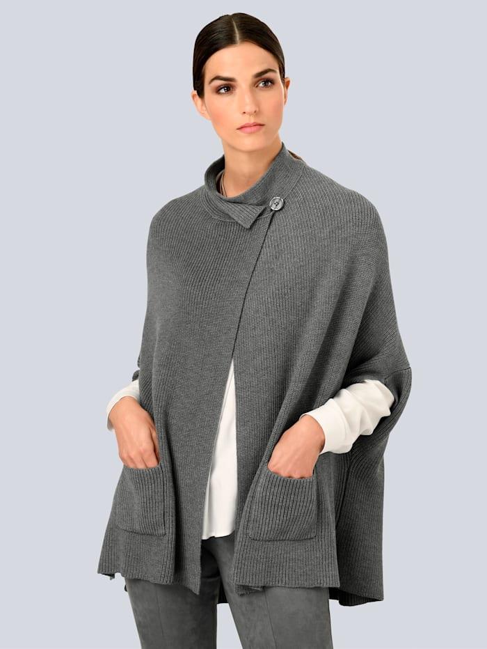 Alba Moda Strickjacke in modischer Cape-Form, Grau
