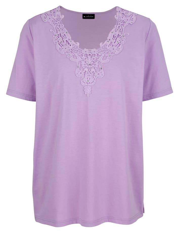 m. collection Shirt mit dekorativer Spitze am Ausschnitt, Flieder