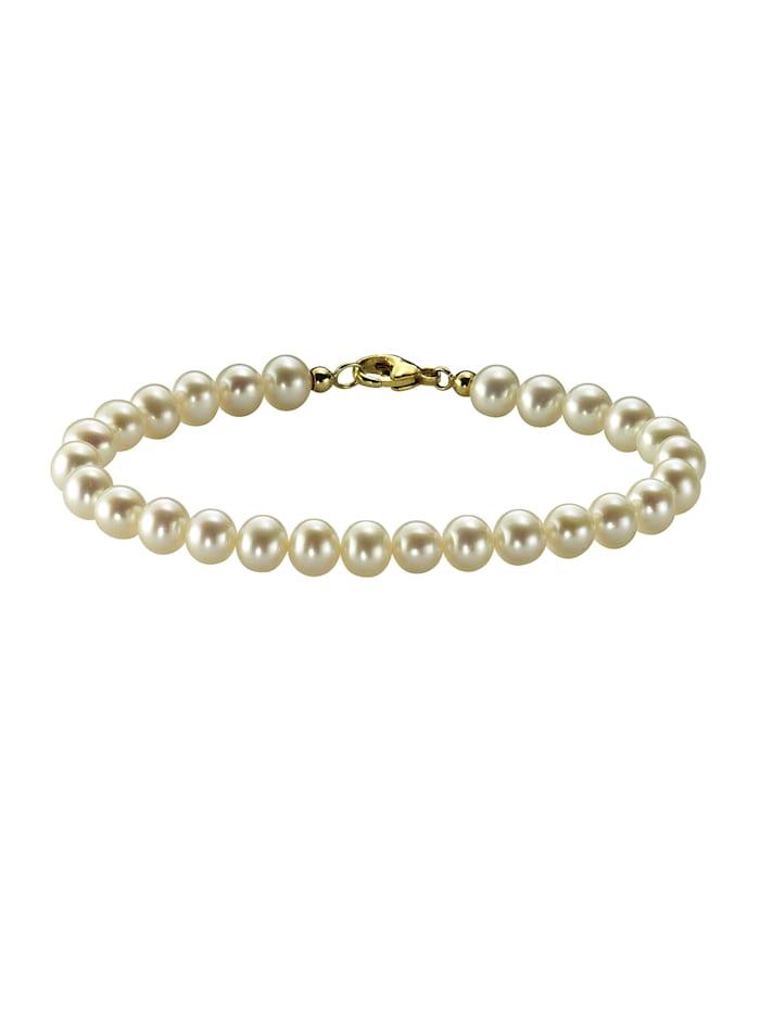 Armband 333/- Gold Süßwasserzuchtperle weiß 19cm Glänzend
