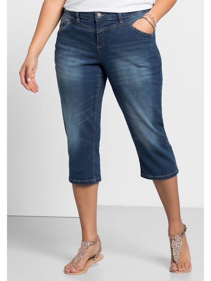 Sheego Sheego 3/4-Jeans, blue Denim