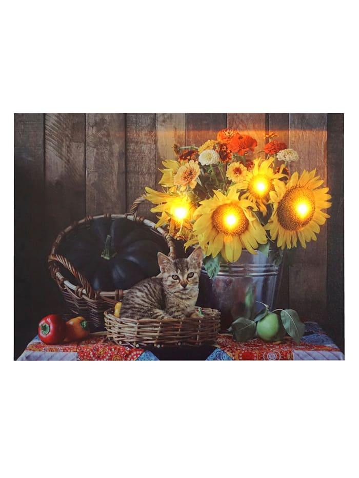 LED-Wandbild 'Sonnenblumen', bunt