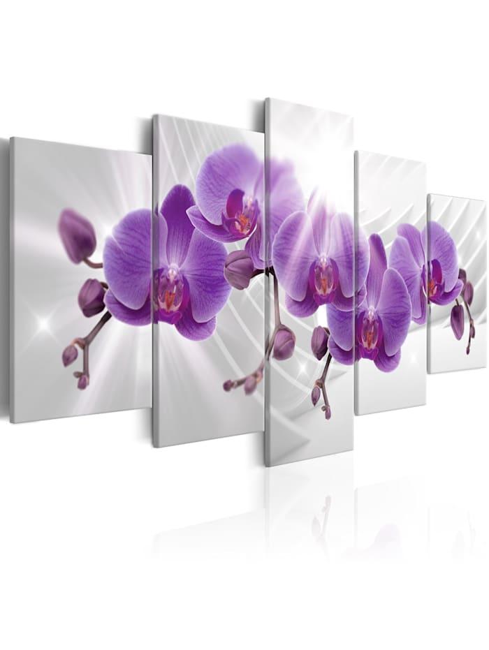 artgeist Wandbild Abstract Garden: Purple Orchis, Weiß,Violett,Grau