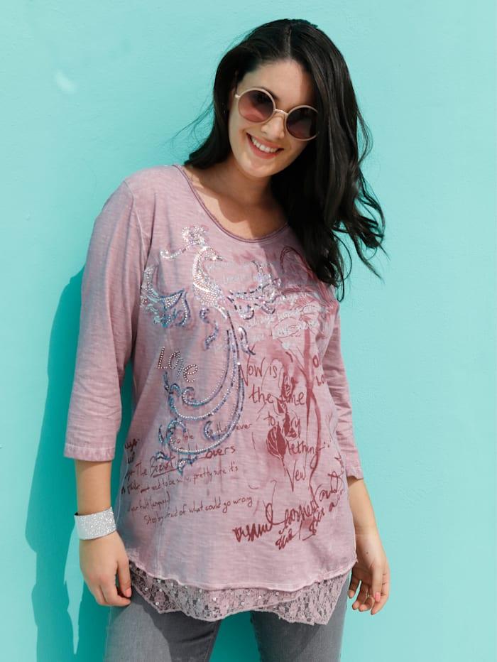 MIAMODA Shirt mit Spitzeneinsatz und Pailletten am Saum, Rosé
