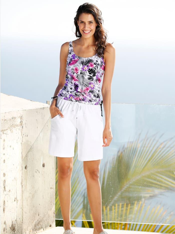Maritim Shorts in knielanger Form, Weiß