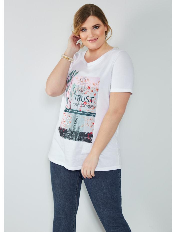 MIAMODA Shirt mit modischem Druck, Weiß
