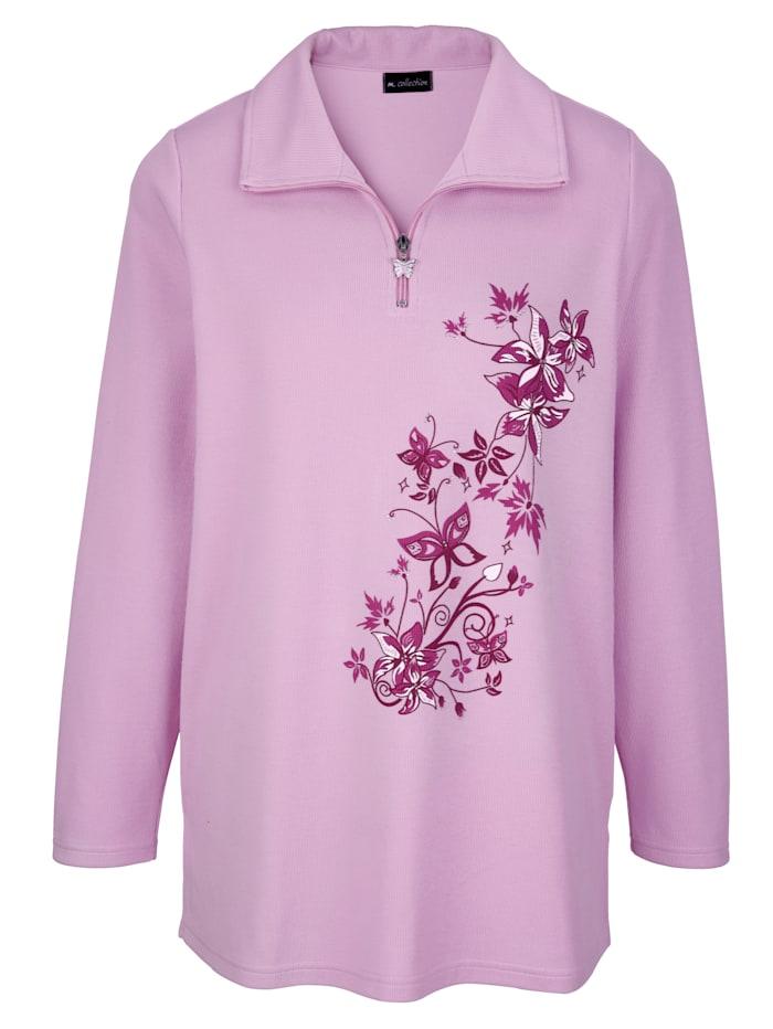 m. collection Sweatshirt mit platziertem Blumendruck, Rosé/Multicolor