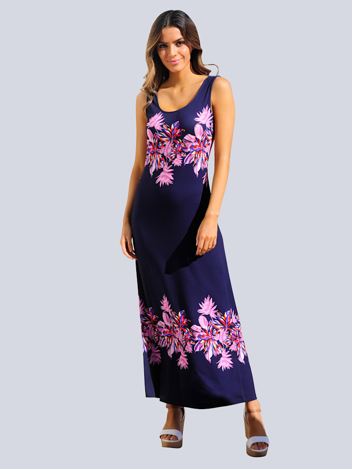 Alba Moda Strandkleid mit Blumendruck, Marineblau