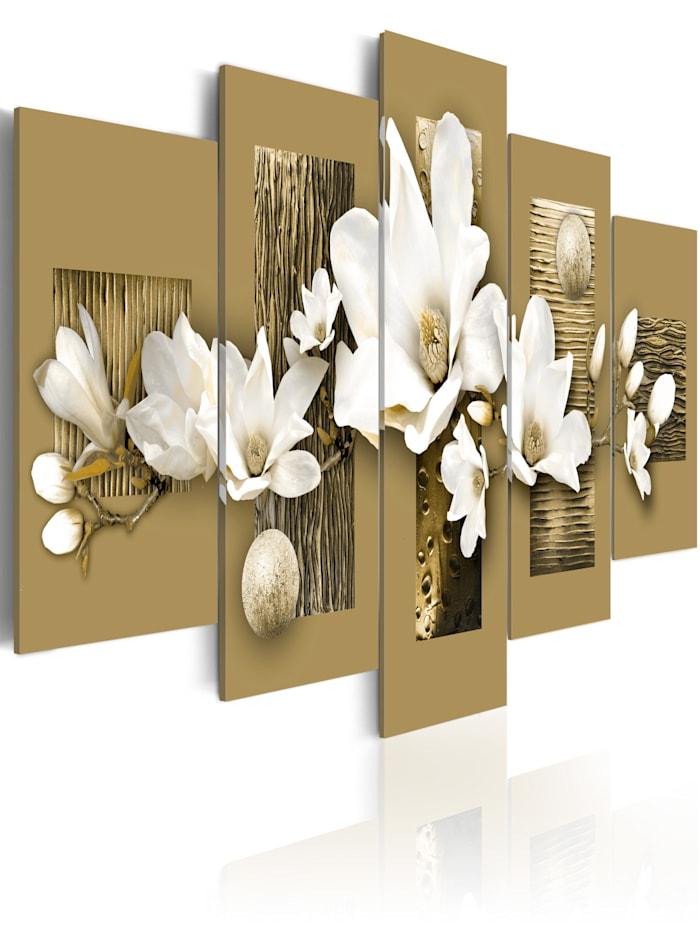artgeist Wandbild Magnolia-Garden, Beige,Weiß