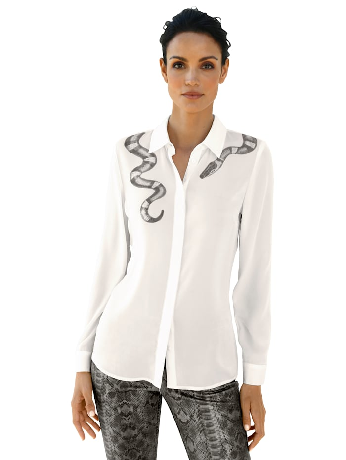 AMY VERMONT Bluse mit Schlangendruck um den Kragen, Weiß/Grau