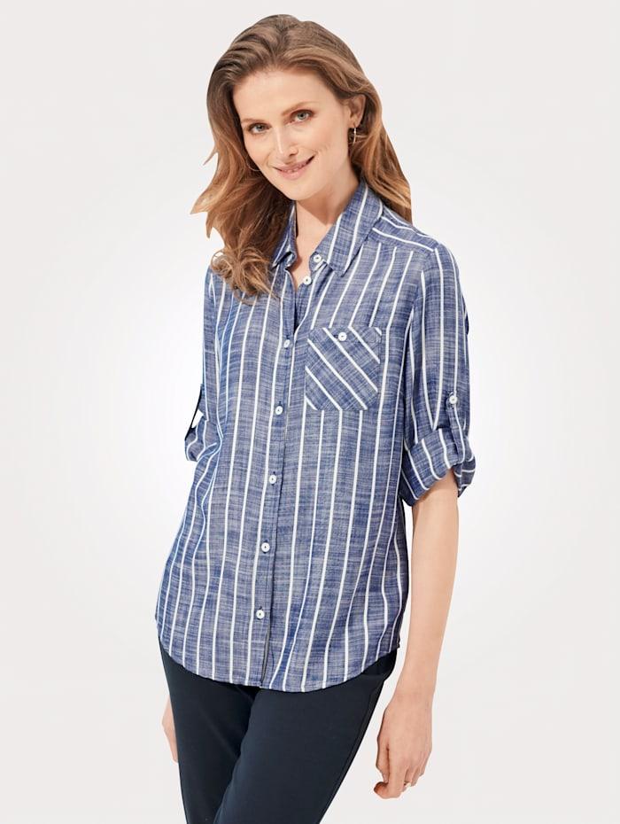 MONA Bluse mit Streifendruck, Blau/Weiß