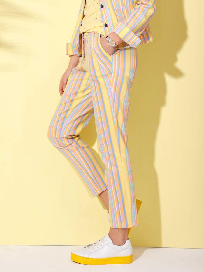 AMY VERMONT Džínsy s prúžkovaným vzorom, Žltá/Svetlomodrá/Orgovánová