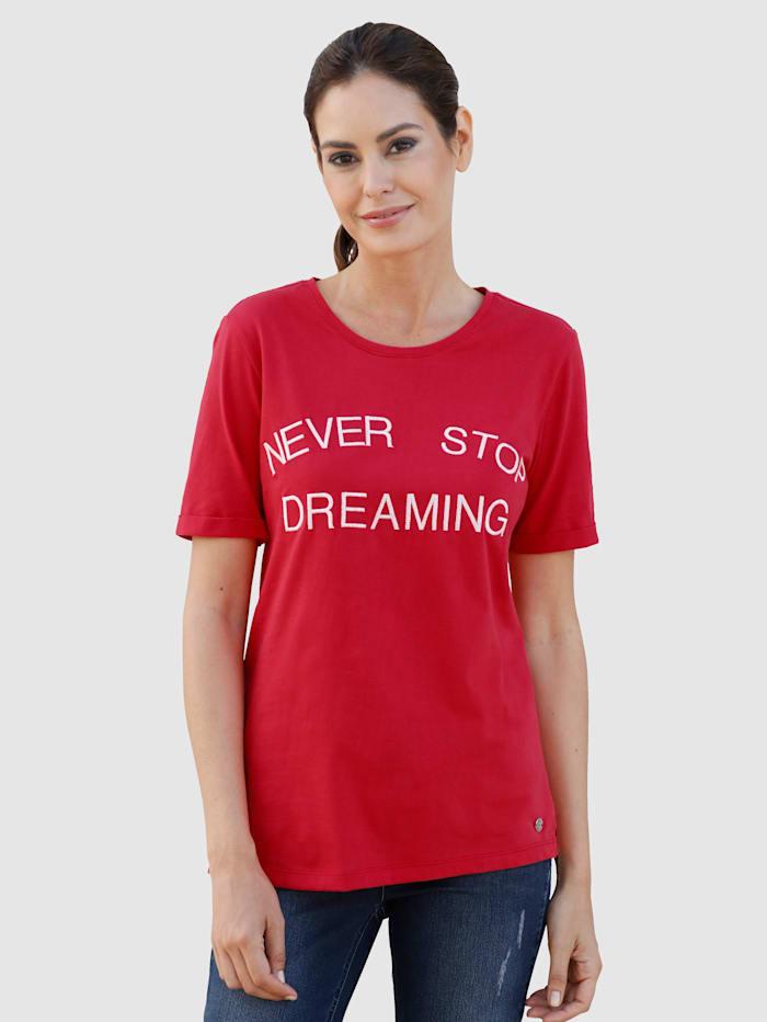 Laura Kent Shirt met contrastkleurig opschrift, Rood