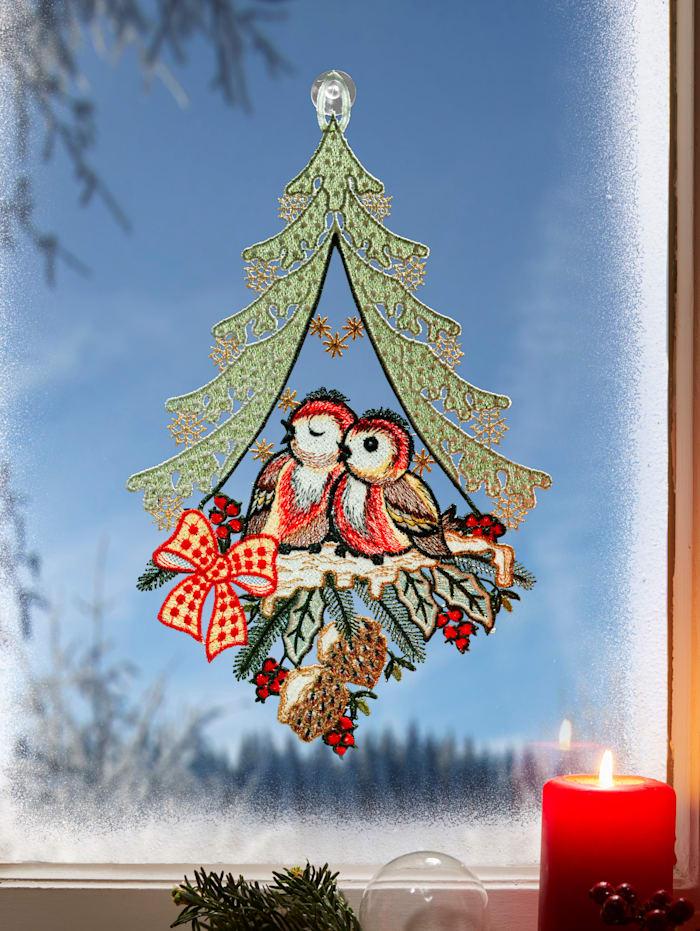 Stickereien & Textilien Décoration de fenêtre Petits oiseaux, Multicolore