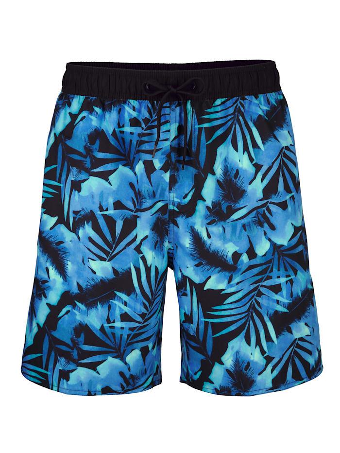 Maritim Zwemshort met trendy print rondom, Blauw/Zwart