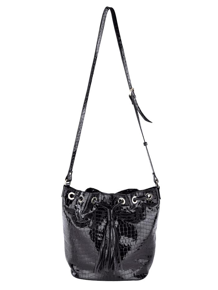 Vamos Beuteltasche aus hochwertigem Leder, schwarz