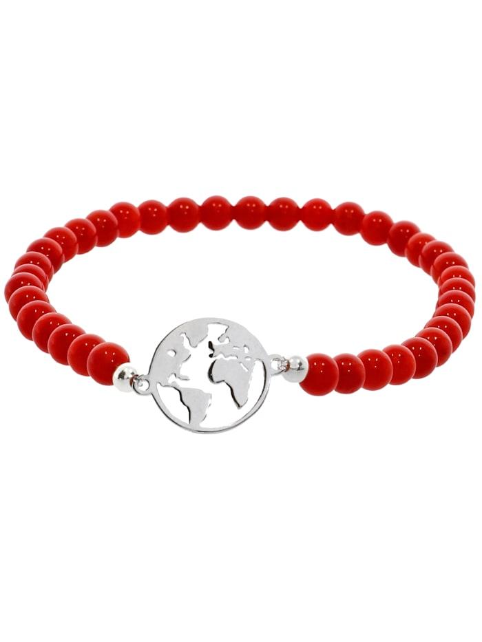 1001 Diamonds Weltkugel Koralle Armband 925 Silber 17 cm, rot