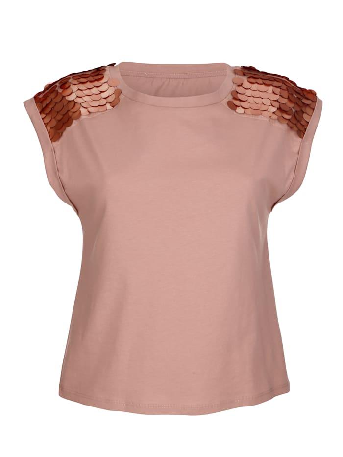 AMY VERMONT Shirt mit dekorativen Plättchen auf der Schulter, Altrosa