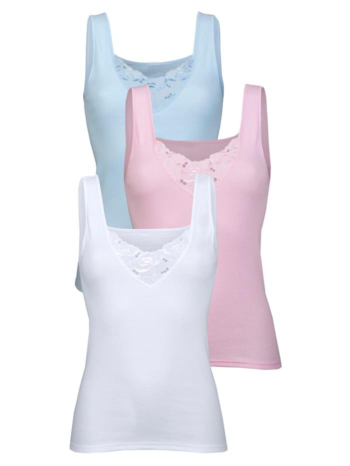 Harmony Achselhemd mit hübschem Batistmotiv 3er Pack, 1x hellblau, 1x rosa, 1x weiß