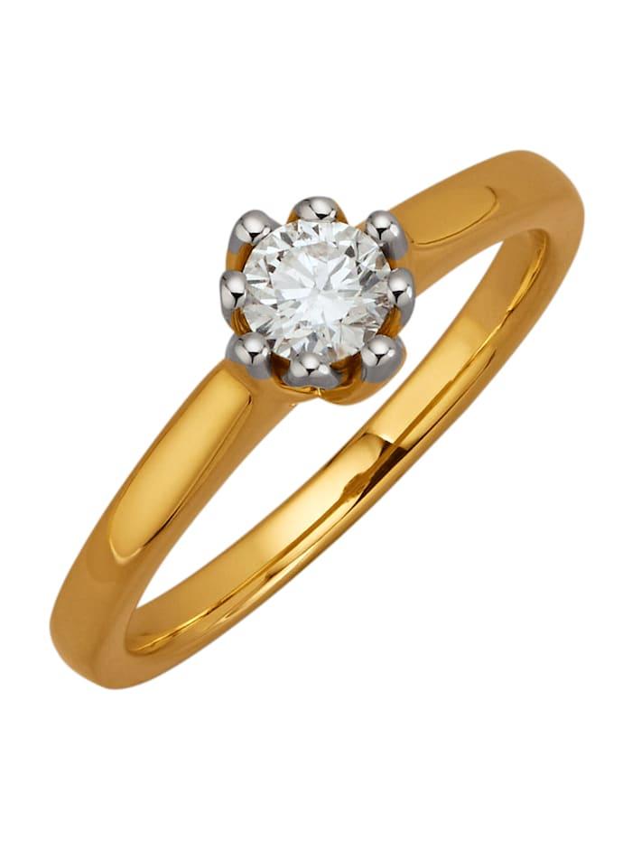 Diemer Solitär Ring van 18 kt., Geelgoudkleur