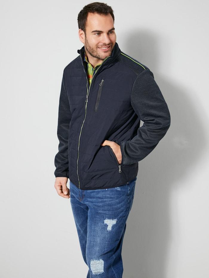 Men Plus Hybrit-Jacke mit Stehkragen, Dunkelblau/Neongrün