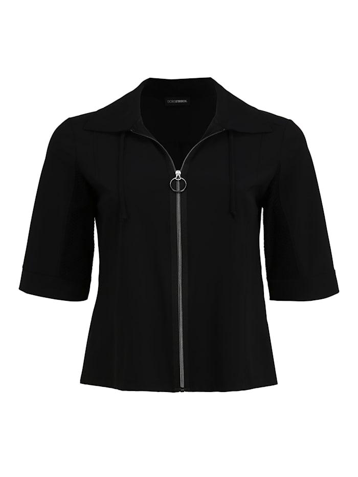 Doris Streich Sweatjacke mit Reißverschluss Ton-in-Ton-Nähte, schwarz