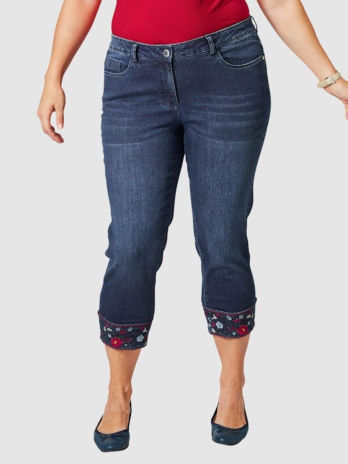 Janet & Joyce 7/8 Slim Fit Jeans mit Stickerei, Dunkelblau