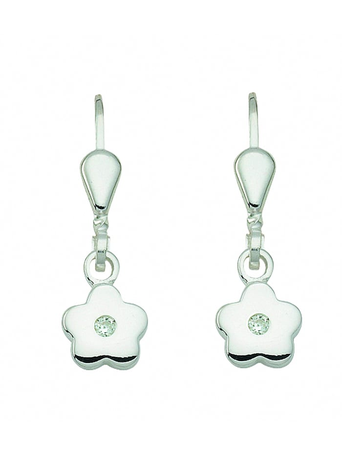 1001 Diamonds Damen Silberschmuck 925 Silber Ohrringe / Ohrhänger Blüte mit Zirkonia, silber