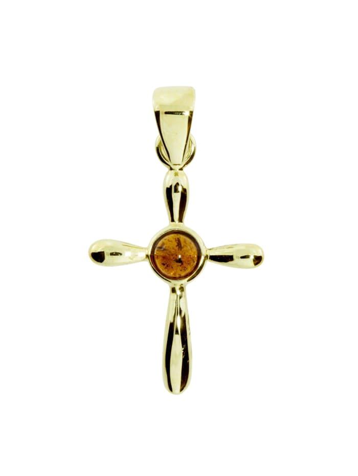 OSTSEE-SCHMUCK Anhänger - Kreuz 22 x 16 - Gold 333/000 - Bernstein, gelb