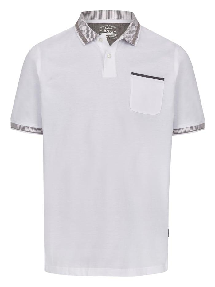 Hajo Pikee-Poloshirt mit aufwändig gestricktem Kragen, weiß