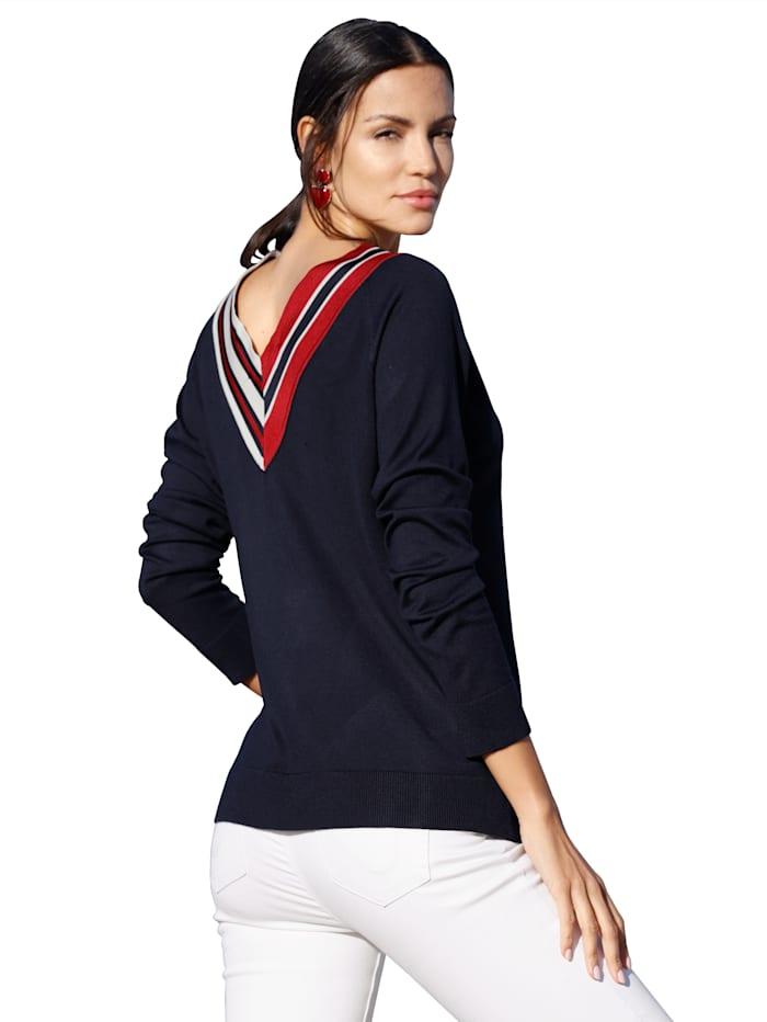 Pullover mit kontrastfarbigem V-Ausschnitt