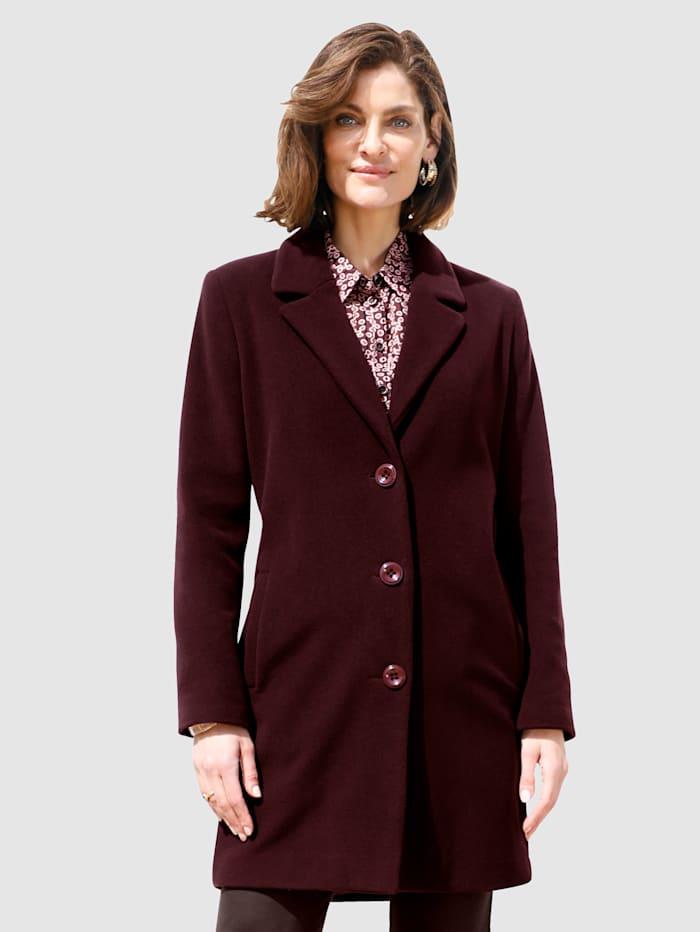 MONA Vlněný kabát v klasickém střihu, Bordó