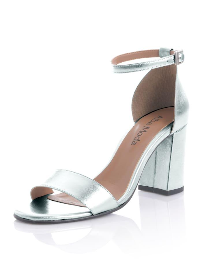 Alba Moda Sandalette aus Ziegenleder, Silberfarben