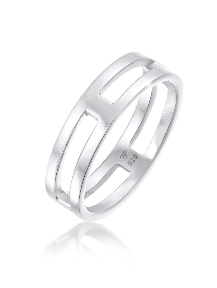 Kuzzoi Ring Herren Bandring Steg Massiv 925 Silber, Silber