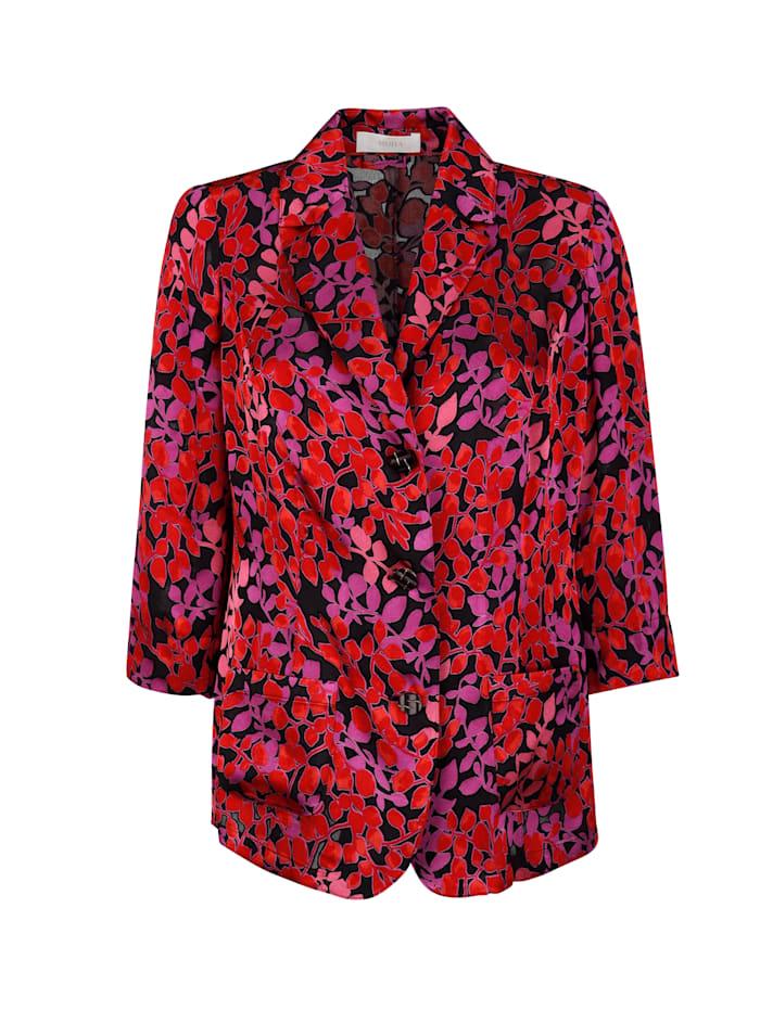 Veste-chemise en dévoré à motif fleuri