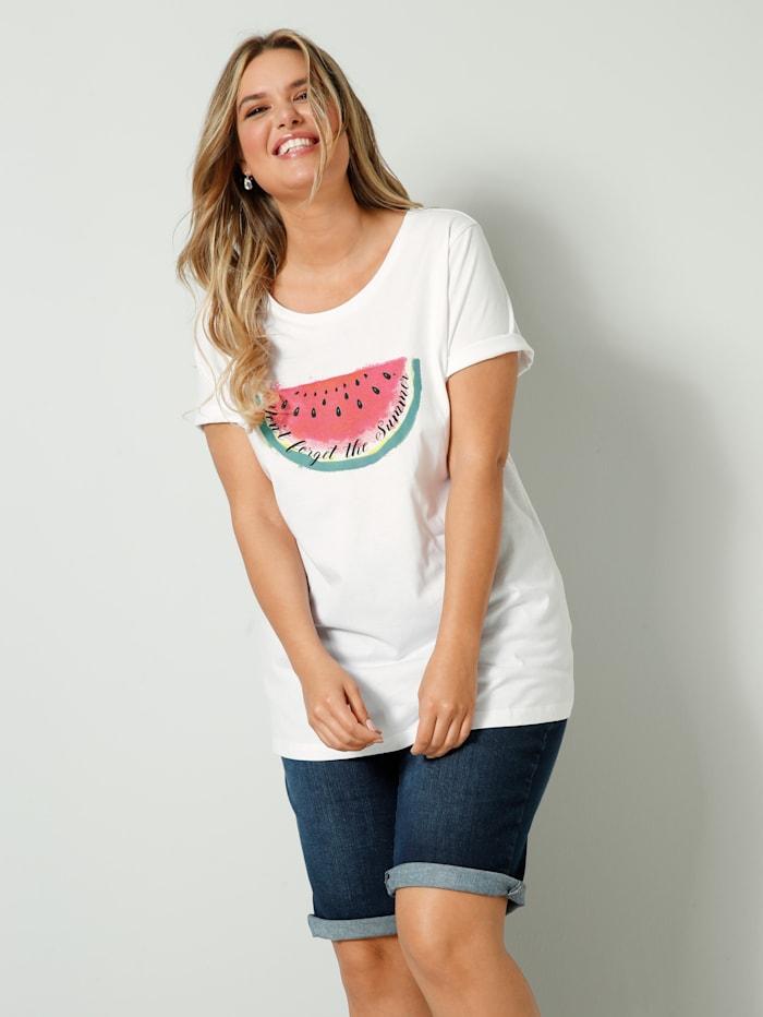 Janet & Joyce T-shirt à imprimé de melons, Blanc/Rose vif/Vert