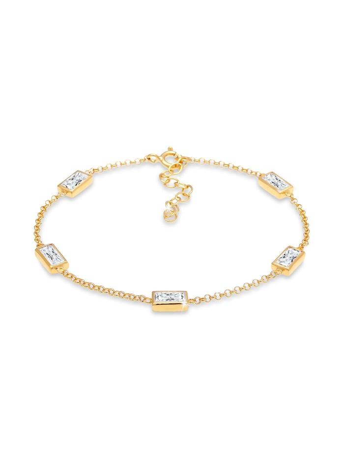 Elli Armband Klassisch Baguette Zirkonia Kristalle 925 Silber, Gold