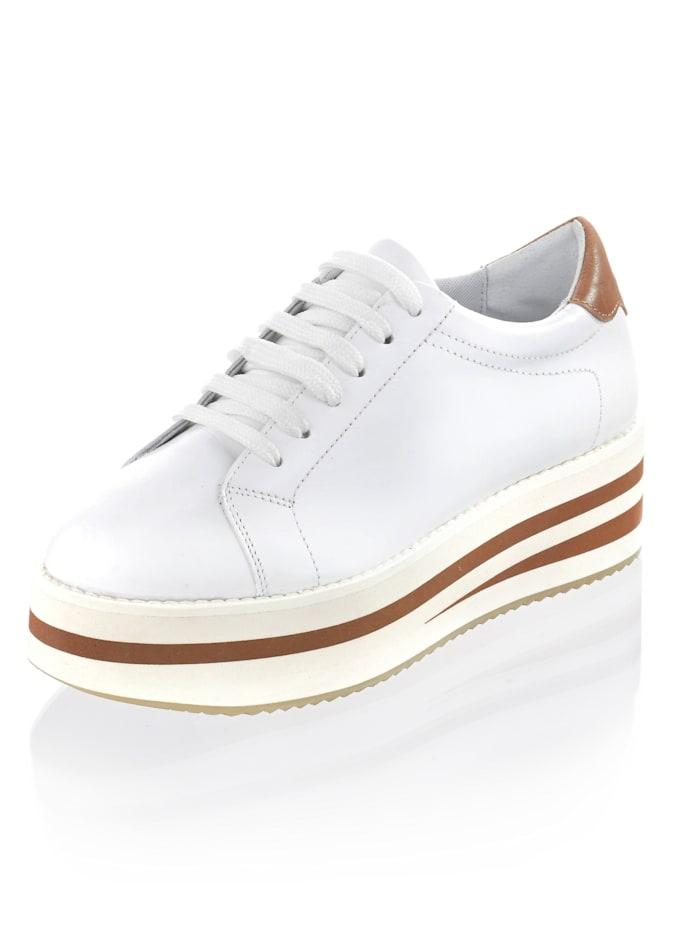 Alba Moda Sneaker mit sportlichen Nähten, Weiß/Cognac