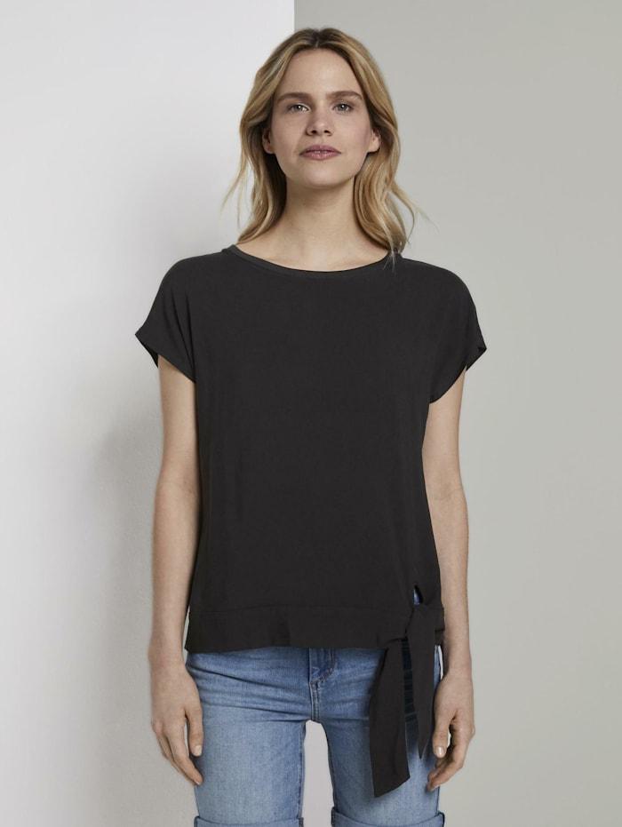 Tom Tailor T-Shirt mit Knotendetail im Material-Mix, Deep Black