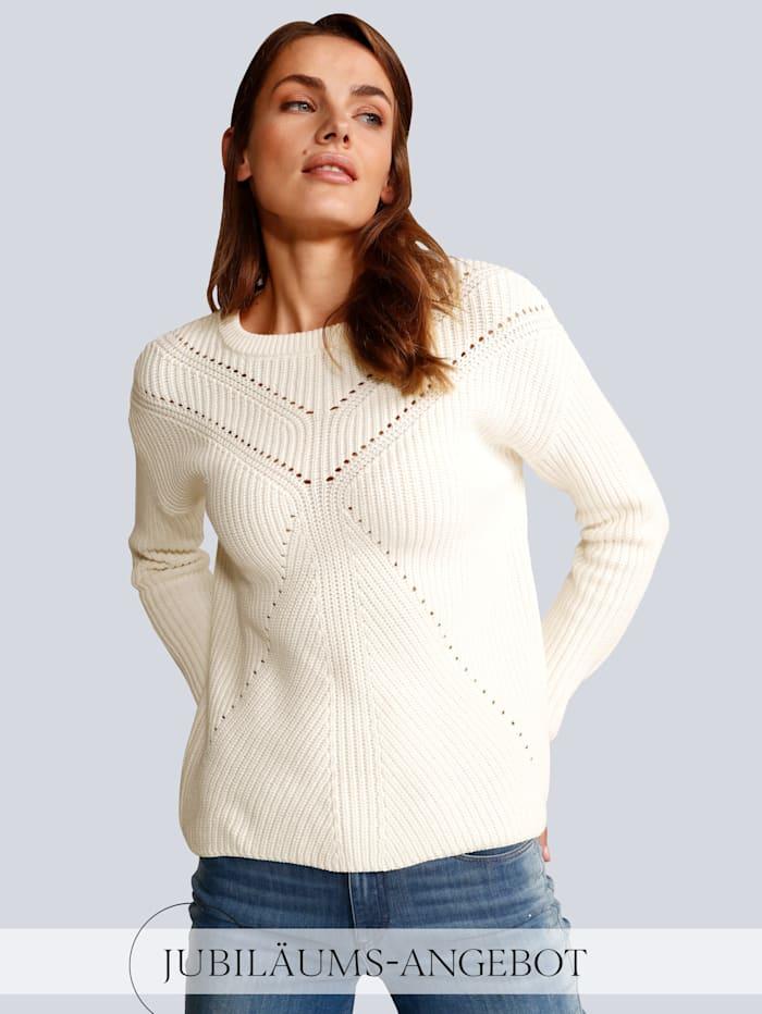 OUI Pullover mit schönem Lochmuster, Wollweiß