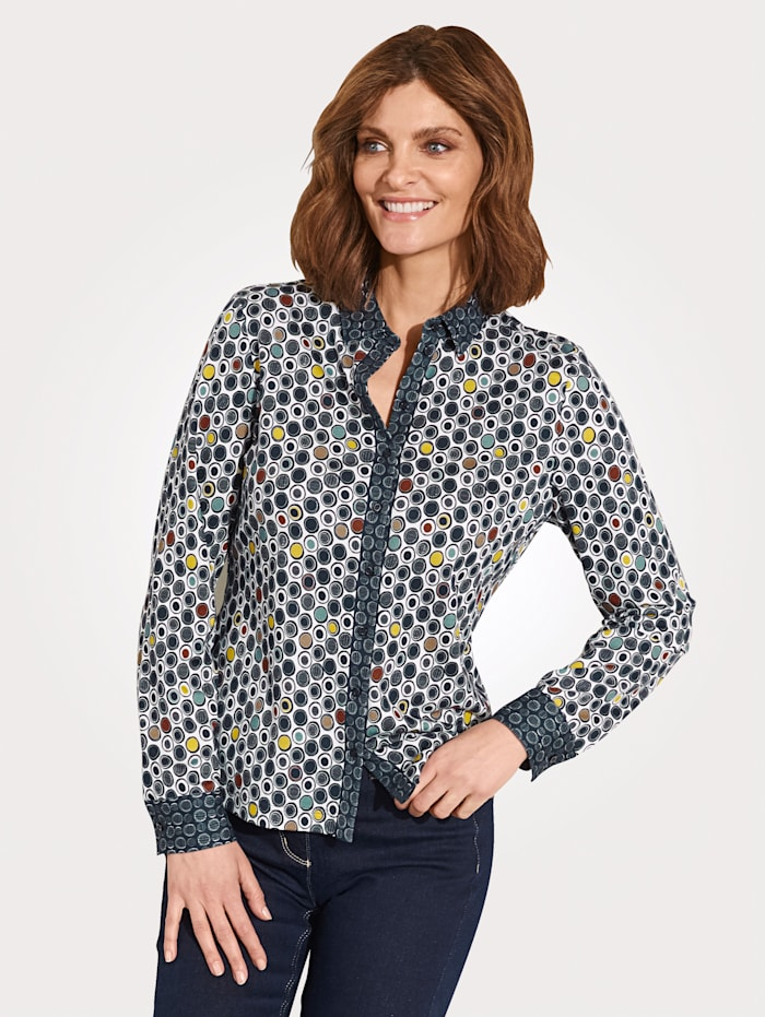 ERFO Bluse aus reiner Baumwolle, Marineblau/Weiß
