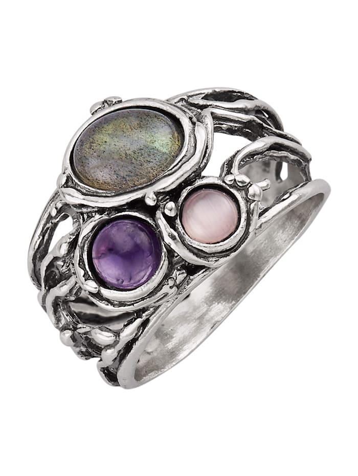 Roman Glass Ring med ädelstenar, Silverfärgad