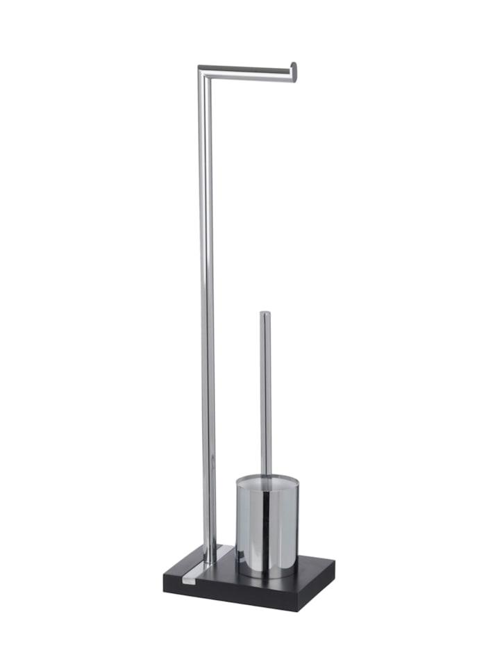 Wenko Stand WC-Garnitur Noble Black, Gestell/WC-Behälter: Chrom, Bodenplatte: Schwarz