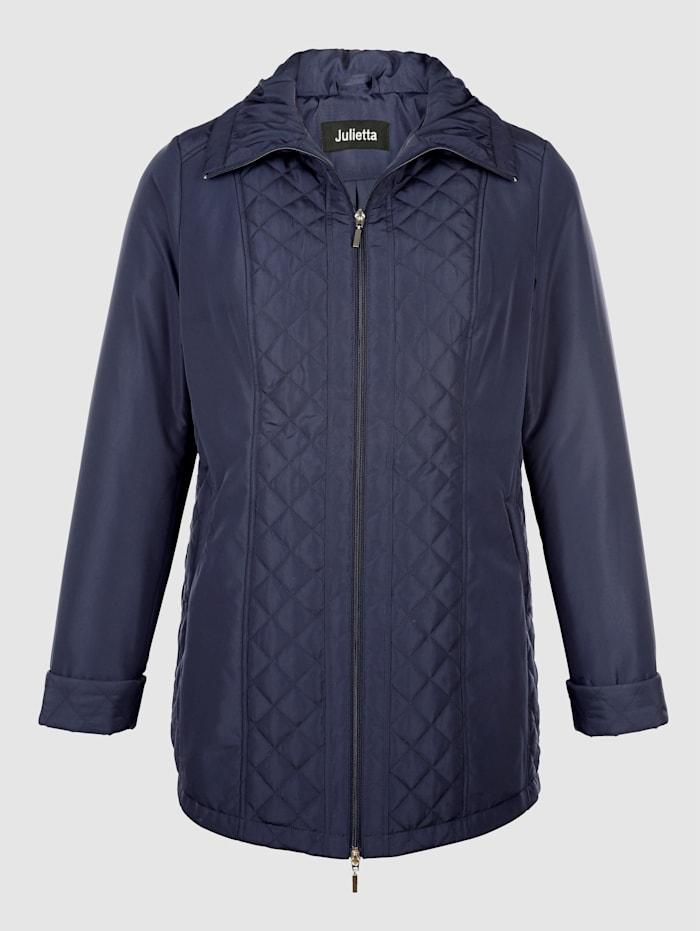 m. collection Jacke mit modischen Rautensteppeinsätzen, Marineblau