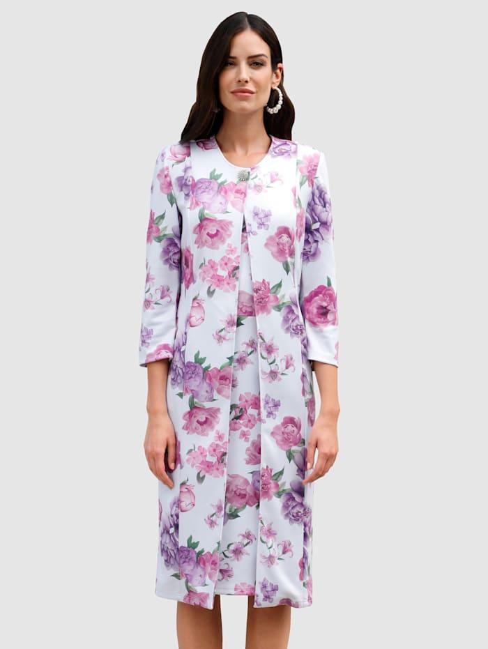 Blazer mit schönem Blumendruck, Weiß/Rosé