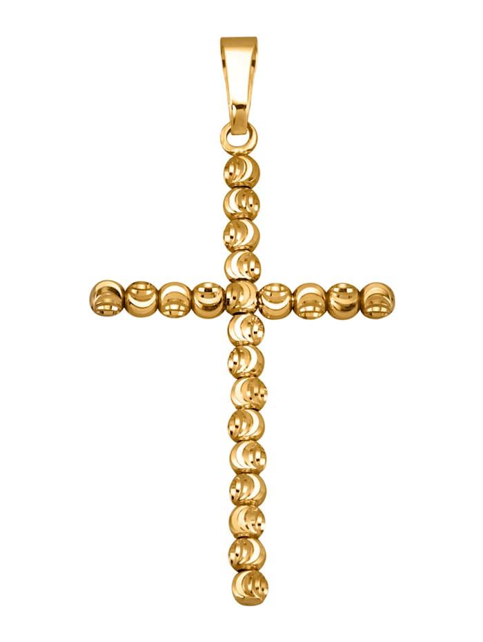 Kreuz-Anhänger in Gelbgold 375, Gelbgoldfarben