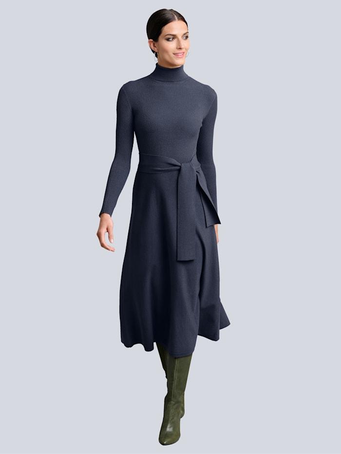 Alba Moda Strickkleid mit ausgestelltem Rockteil, Marineblau