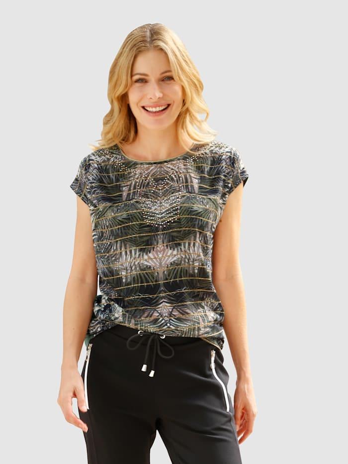 Laura Kent Shirt met tropische print, Olijf