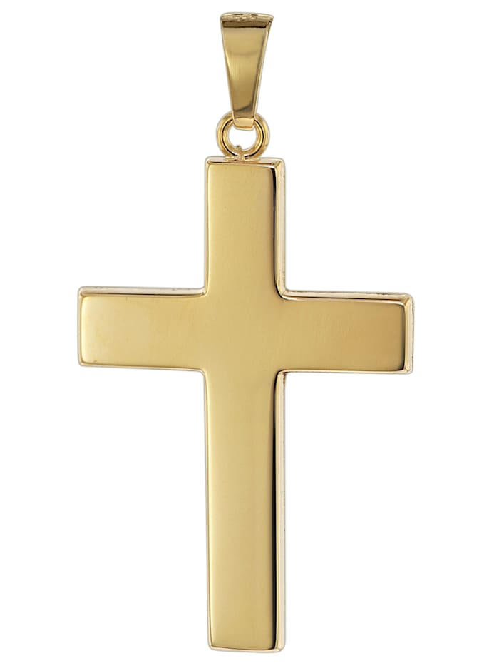 trendor Kreuz Anhänger für Männer 585 Gold 27 mm, Goldfarben